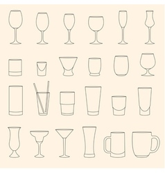 Set of linear drinkware on beige background vector image vector image