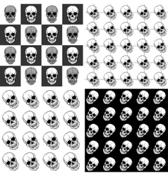 Set of seamless patterns with skulls over black vector