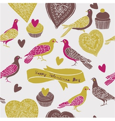 sweet cute birds vector image vector image
