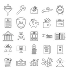 taxes icons set outline style vector image
