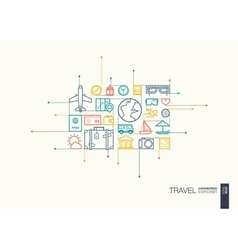 Travel integrated thin line symbols vector