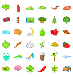 Tree icons set cartoon style vector