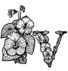 Violet bouquet litera v vector