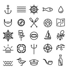 Nautical marine line icons set vector image