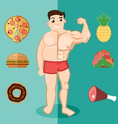 Unhealthy lifestyle fat man obesity man before and vector