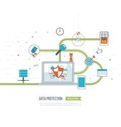 Data protection safe work investment security vector