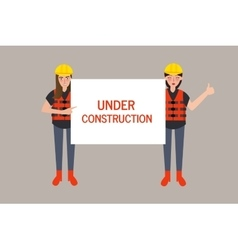 Under construction worker holding sign vector