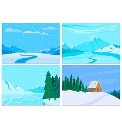 Winter background with pile of snow and landscape vector
