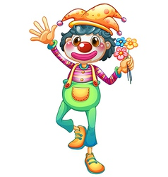 A female clown with three flowers vector