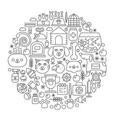 Pet shop concept in circle - concept line vector