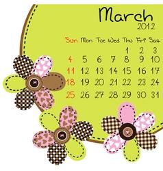 2012 march calendar vector image vector image