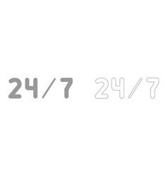 247 service the grey set icon vector