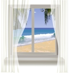 Tropical beach through the window vector