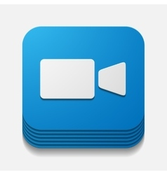 Square button video vector
