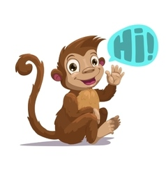 Cute cartoon sitting monkey vector