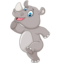 Cartoon happy rhino posing isolated vector