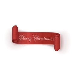 Realistic scroll christmas ribbon on white vector