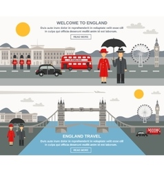 Englad culture 2 flat banners set vector