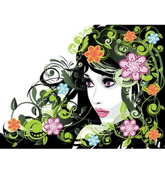 Summer girl with floral2 vector