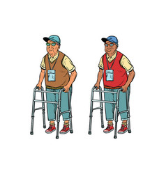 African and caucasian elderly with walker vector