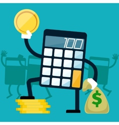 Calculator with golden coin in hand vector image