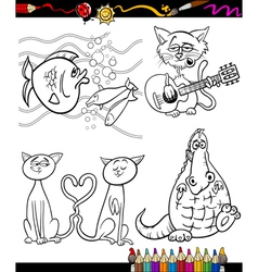 cartoon characters set for coloring book vector image