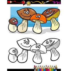 cartoon mushrooms for coloring book vector image vector image