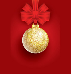 christmas golden glitter christmas ball and red vector image vector image