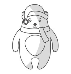 Cute shadow christmas bear cartoon vector