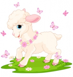 Easter lamb and butterflies vector image vector image