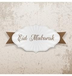 Eid mubarak festive paper badge vector