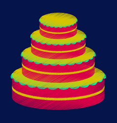 Flat shading style icon wedding cake vector