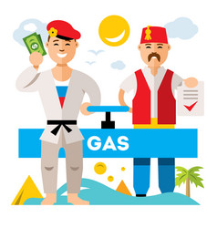 Gas pipeline russia - turkey flat style vector