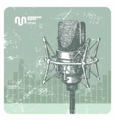 hand drawn microphone vector image