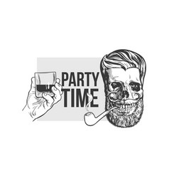 Hand drawn poster with hipster skull and hand vector