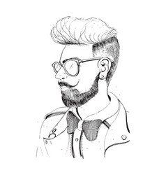 Hipster head with beard sunglasses silhouette vector