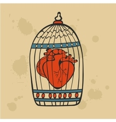 Human heart in a cage vector