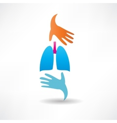 Human lungs and hands icon vector
