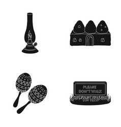 Lamp construction and other web icon in black vector