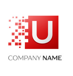 letter u logo symbol in the colorful square with vector image