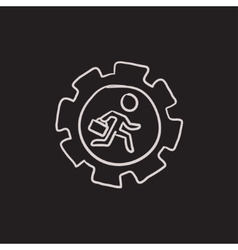 Man running inside the gear sketch icon vector image vector image