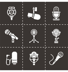 Microphone icon set vector image
