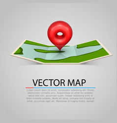 paper map sign with red mark vector image
