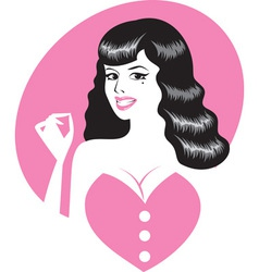 Pinup girl portrait vector