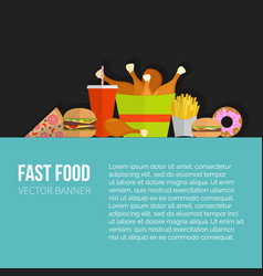 poster of unhealthy fast food eating vector image