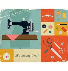 Retro sewing icon set vector
