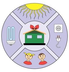 Round emblem energy savings vector
