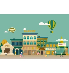Set buildings of small business flat design vector