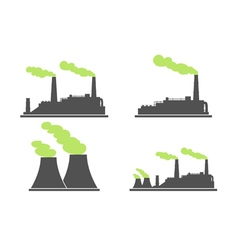 Set of industry factory building icons factory vector