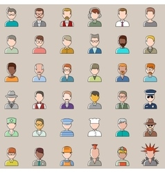 Set of outline people icons Men vector image vector image